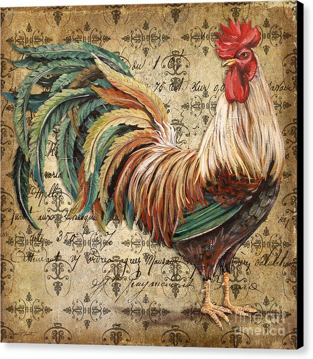 Acrylic Painting Canvas Print featuring the painting Rustic Rooster-jp2120 by Jean Plout