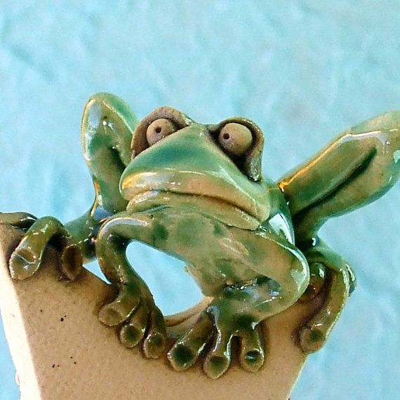 Frog Hanging on Star Ceramic Sculpture by RudkinStudio on Etsy, $32.00