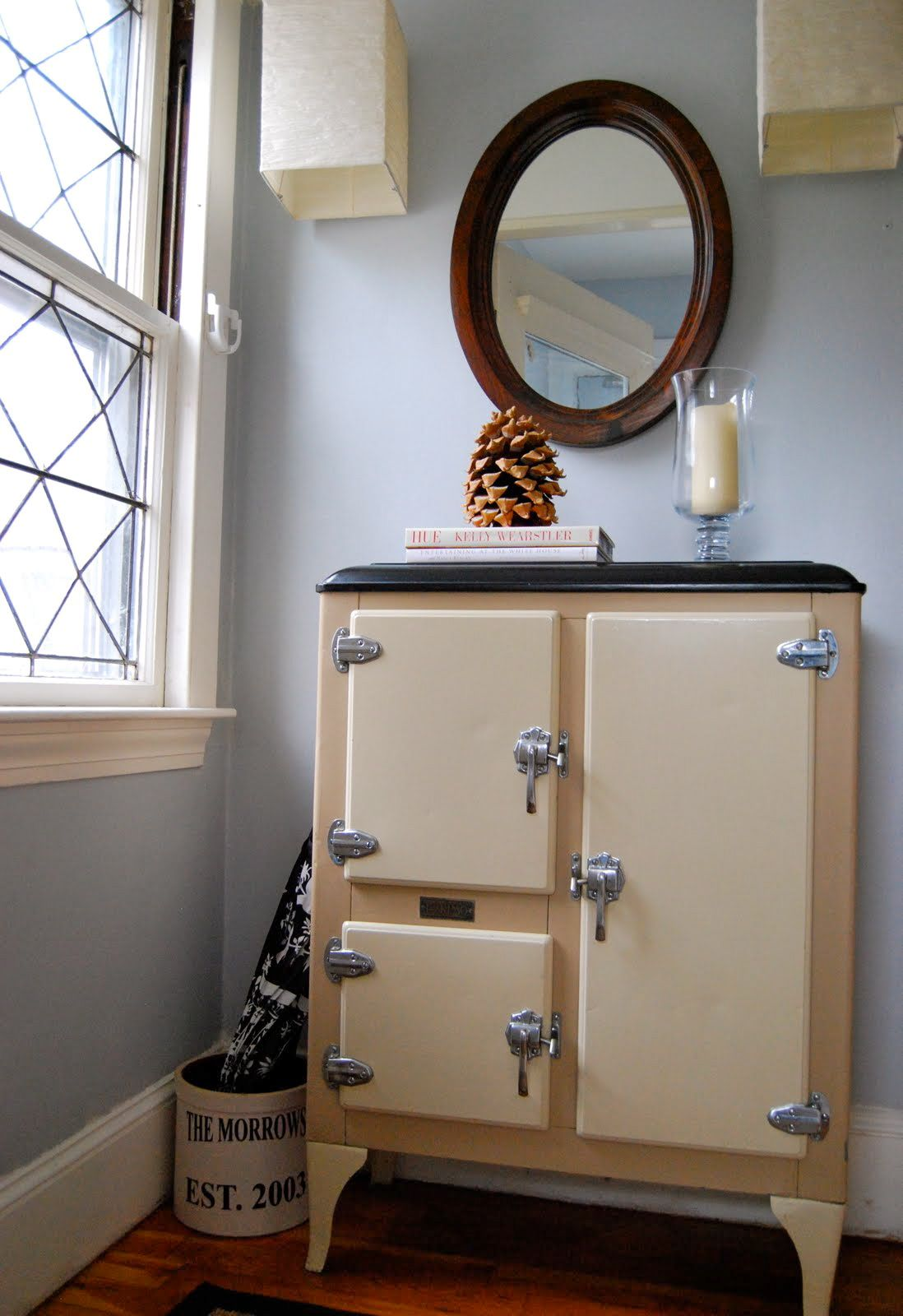 Old Vintage Ice Box Or Small Fridge As Bathroom Storage