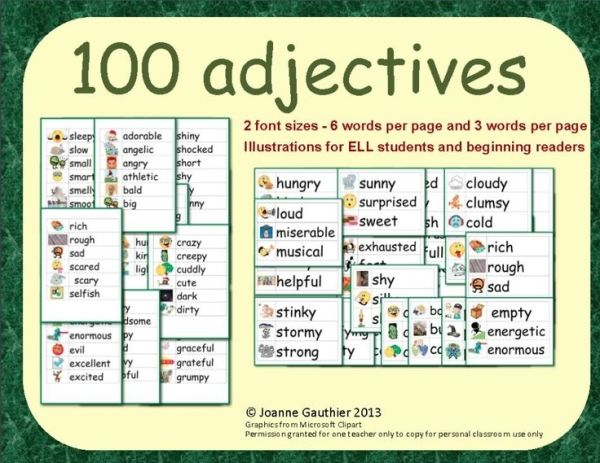 This file contains 100 illustrated adjectives in 2 different word ...