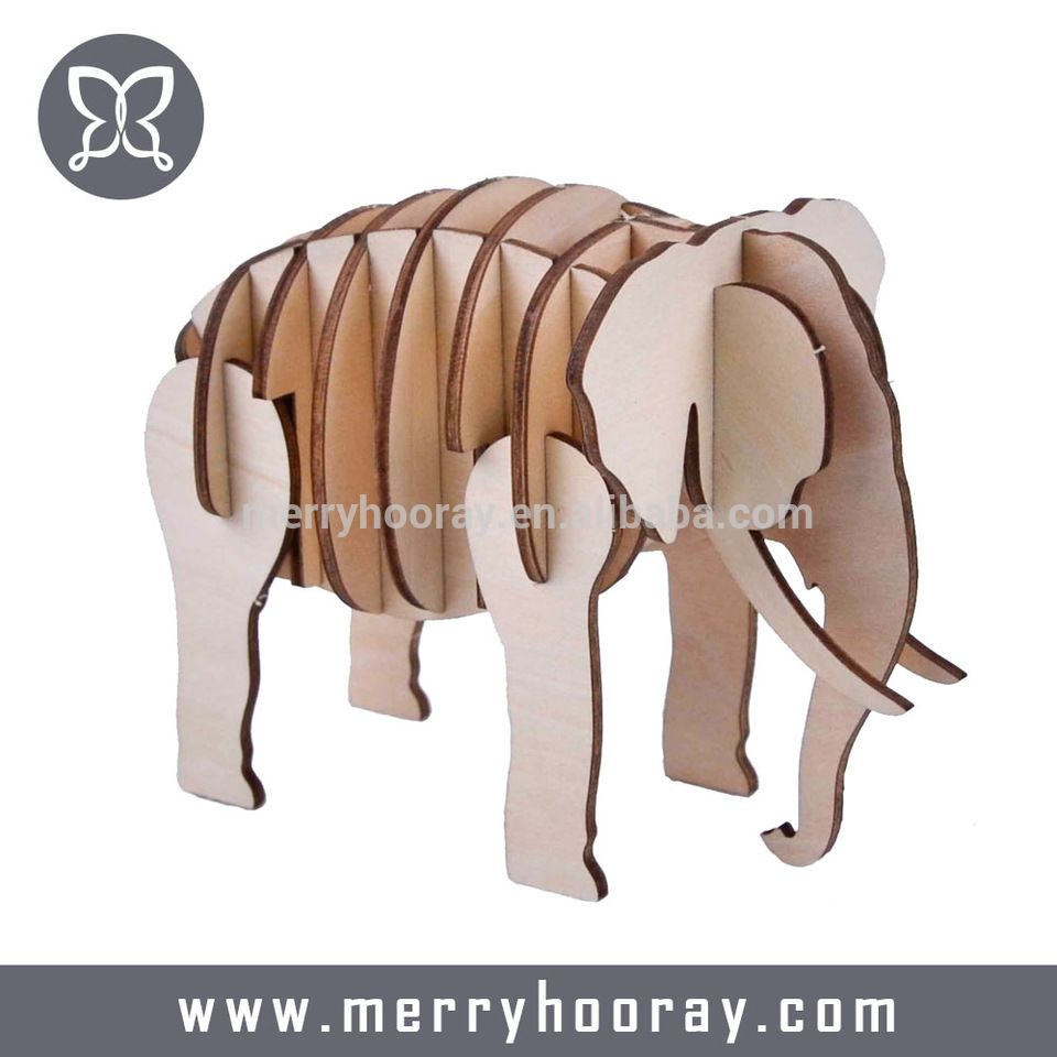 Custom Toy Kids Jigsaw Animal Elephant 3d Puzzle Wooden Diy Model Wooden Elephant Kids Jigsaw Custom Toys