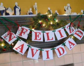 feliz navidad banner spanish christmas garland spanish holiday banner holiday photo prop vintage inspired christmas banner from anyoccasionbanners - Spanish Christmas Decorations
