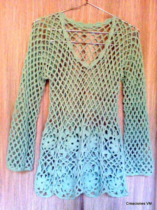 Hoy les quiero mostrar esta remera que hice con hilo fino de algodón ...