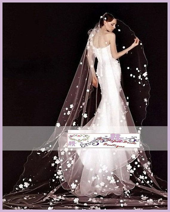 Elegant Bridal Veil Wedding Veil pasted up satin florettes heart shape face  veil long veil vintage veil bridal accessory FREE SHIPPING on Etsy b0e089019a22