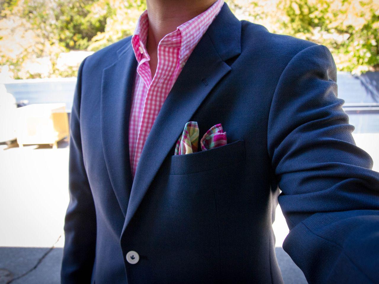 Mens jacket pocket handkerchief - Pink Gingham Shirt And Colourful Pocket Square
