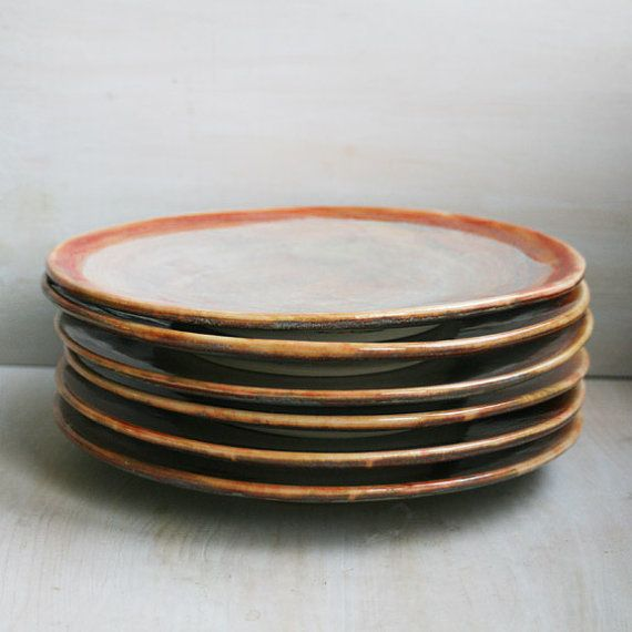 Ceramic Dinnerware Rustic Multicolor Plates Handmade Set of Six Stoneware Dishes in Textured Glaze Pottery Dinnerware & Ceramic Dinnerware Rustic Multicolor Plates Handmade Set of Six ...