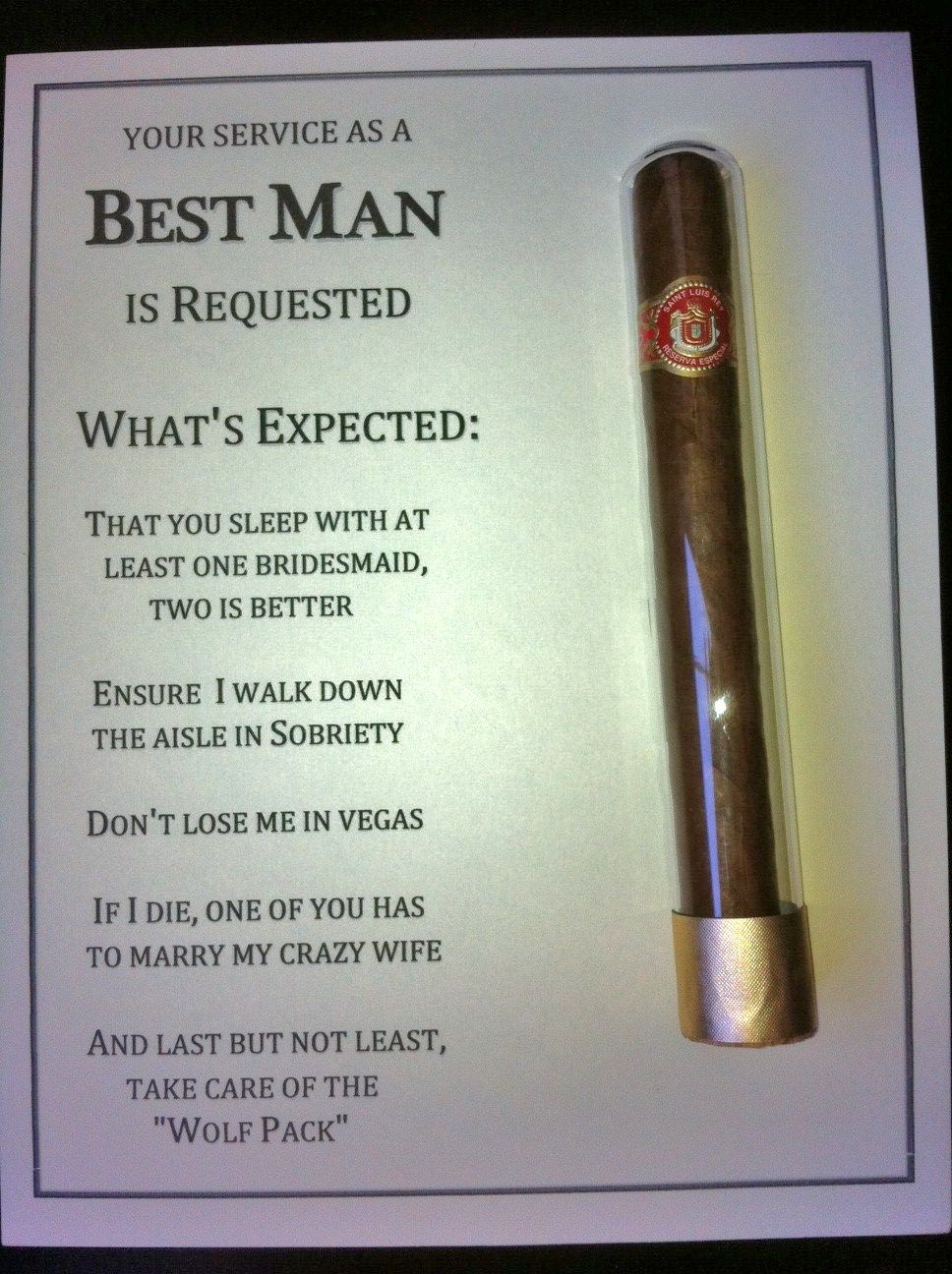 diy best man groomsman invites with cigar used scrapbook tape to