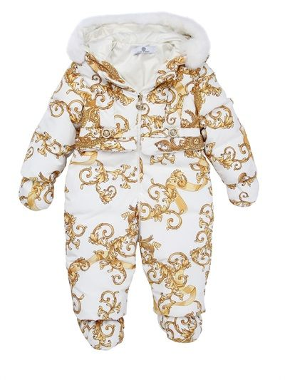 dae6037f3 Young Versace Nylon Down Baby Bunting with Rex Fur Jacket | Coat, Jacket  and Clothing