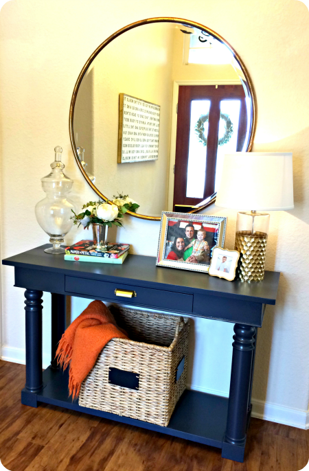 Updated Entry Table Painted Hale Navy A Navy Blue By Benjamin Moore Wisteria Round Mirror And A New Brass Pull Entry Table Living Room Style Home Decor