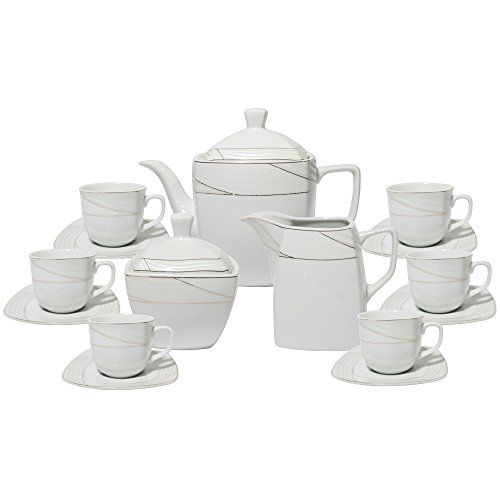 Set of 17 Square White Gold Textured Lines Design Tea Milk Sugar Pot Kettle Cup Saucer Set for 6 with Gift Box GS659-17A [A-to-Z Deals] A to Z Deals http://www.amazon.com/dp/B00QH9RNXU/ref=cm_sw_r_pi_dp_wFaHvb1F4VSD1