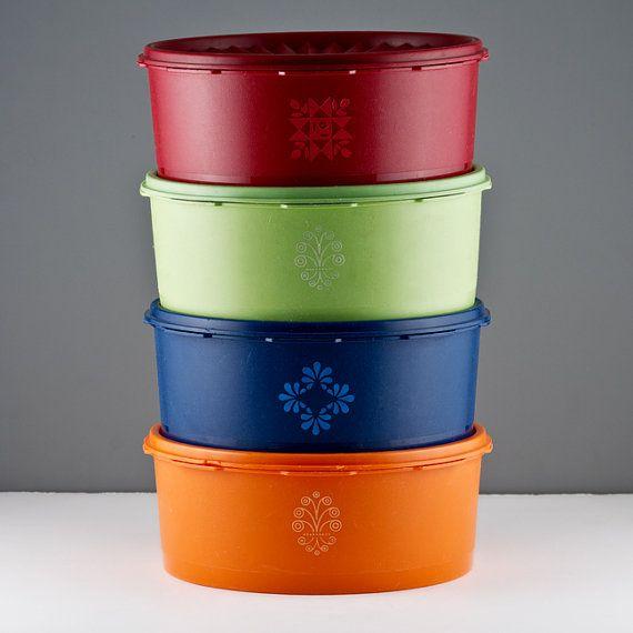 Orange Kitchen Set: Tupperware Vintage 8pc 8 Cup Canister Set. Red, Green