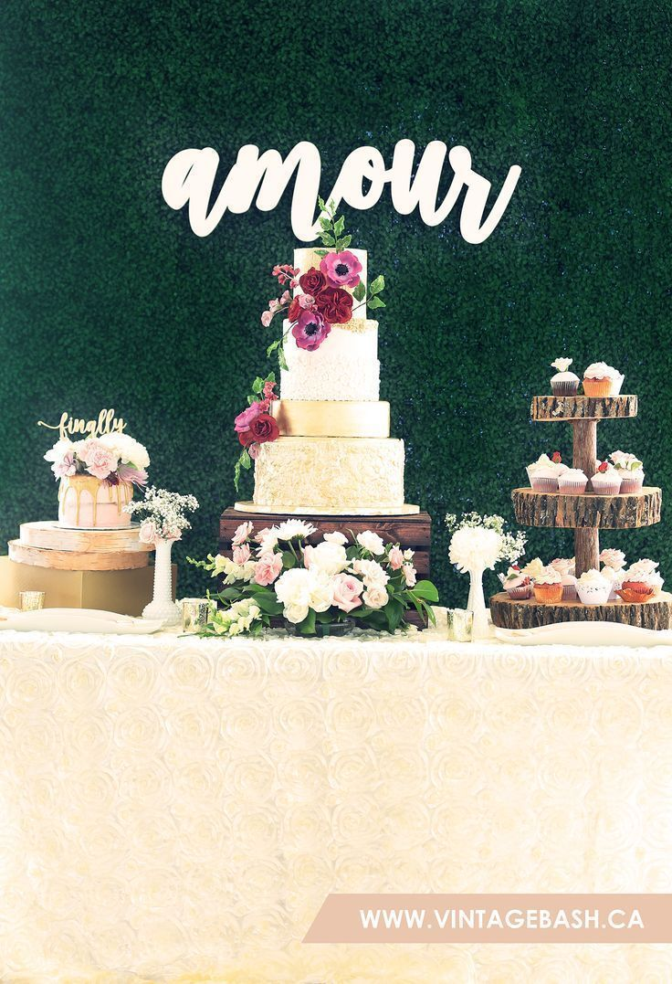 AMOUR: Beautiful Rustic Wedding Dessert Table / Candy Buffet / Cake ...