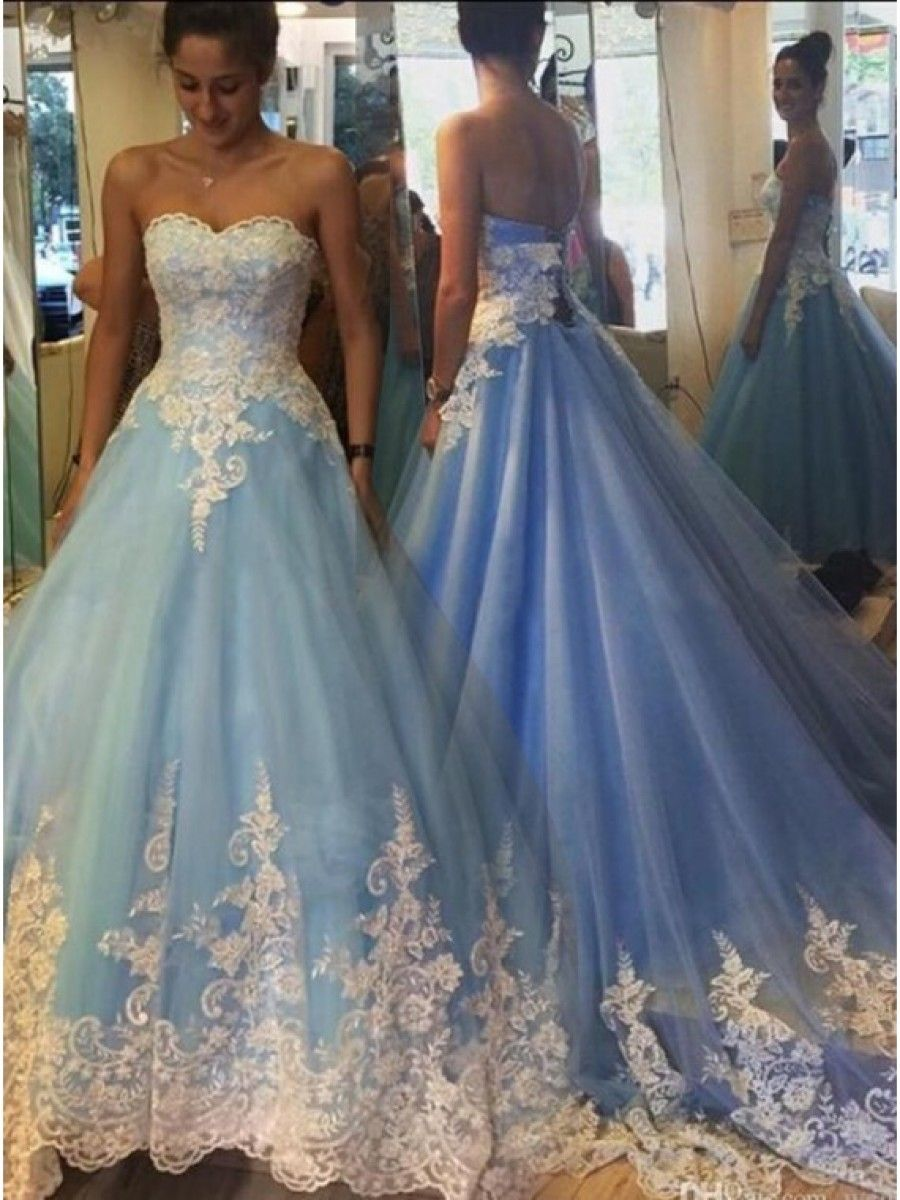 Long Blue Lace Prom Dresses Party Evening Gowns 99602265 | Blue lace ...