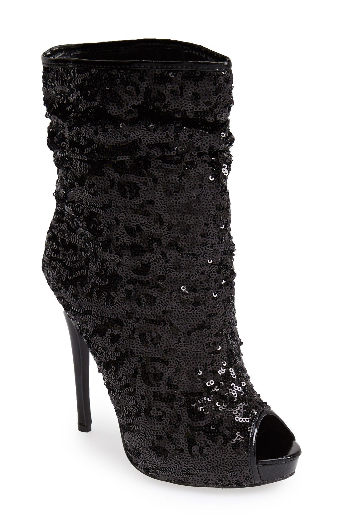 ae08fc3c2fd Excited to show off these black sequin peep toe booties!