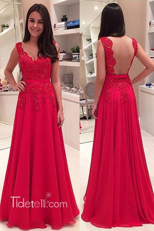 00a9ebc491 Elegant V-neck Floor Length Lace Backless Red Prom Evening Dress ...