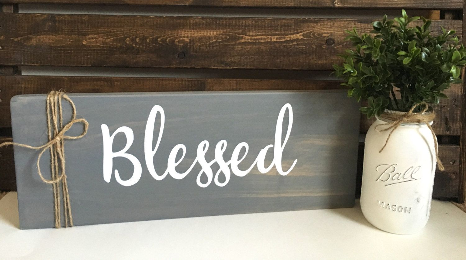 Blessed Sign, Entryway Sign, Rustic Signs, Rustic Wood Sign, Fall Home Decor…