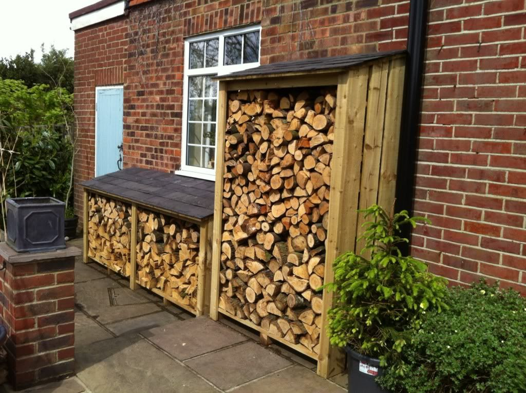 Firewood storage for back garage entrance home outdoor for Patio organization ideas
