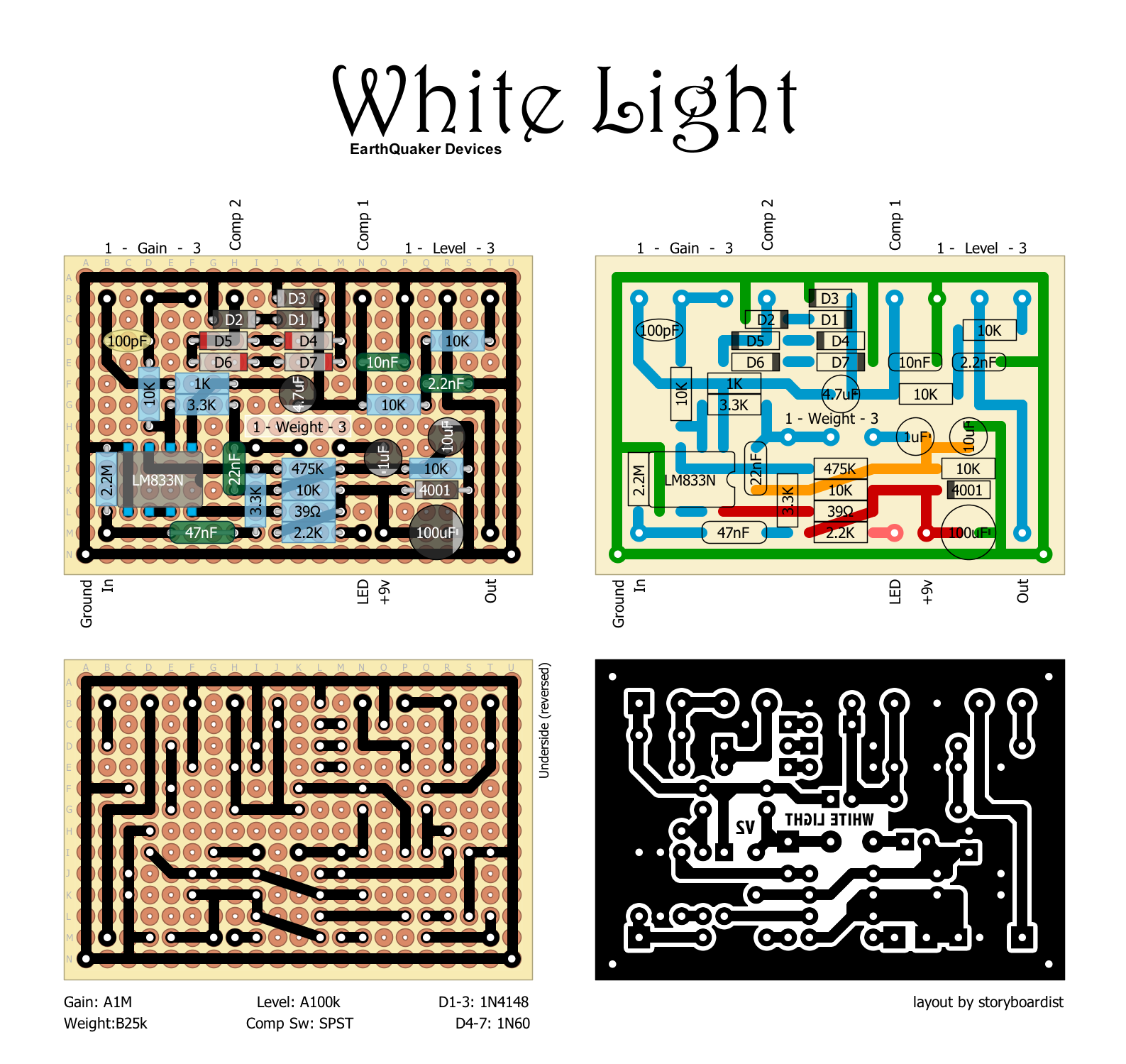 The White Light Is Based On The Mxr Distortion Dod 250 Circuit But With Some Modernization And Improveme Earthquaker Devices Diy Guitar Pedal Diy Guitar Amp
