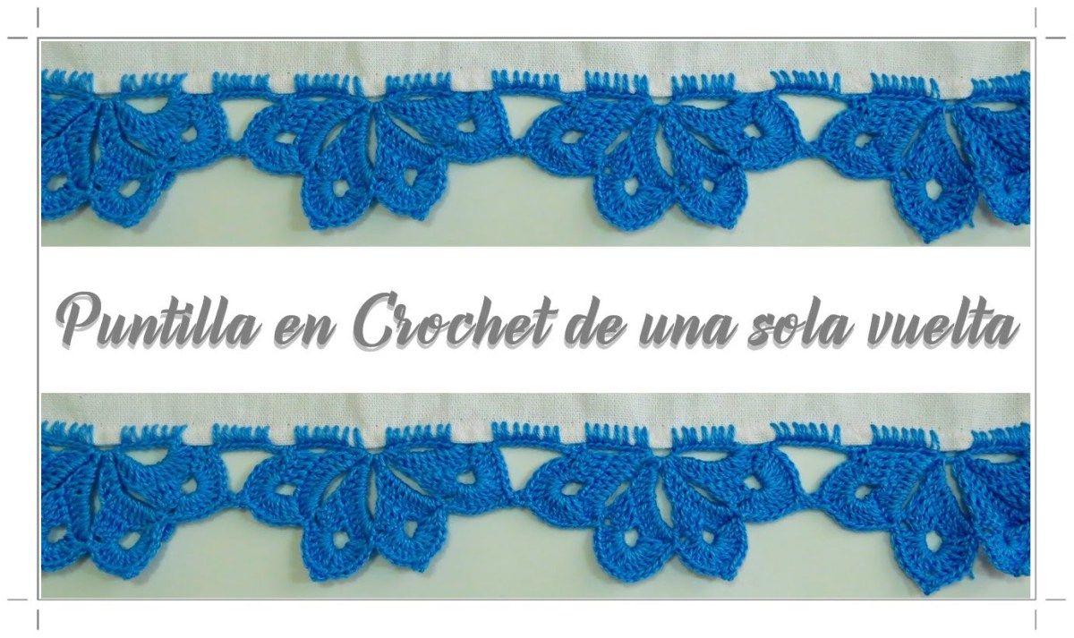Puntilla a crochet de una sola vuelta | knitting, weaving ...