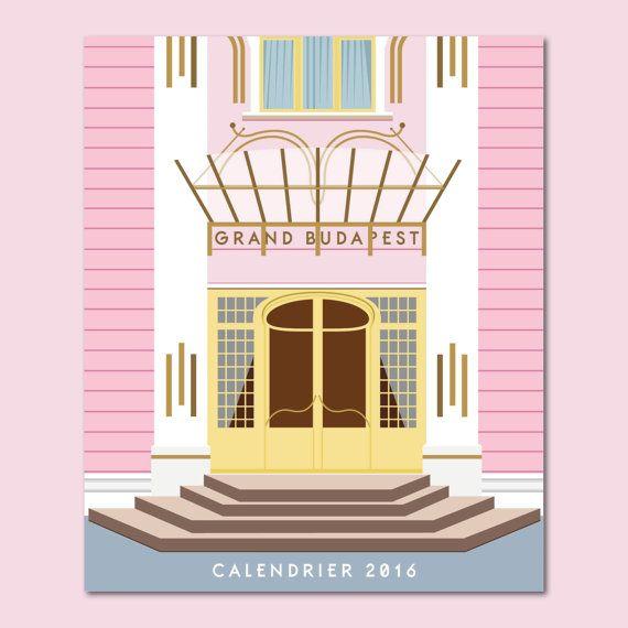 Illustration Calendrier.Grand Budapest Hotel 2016 Calendar Wes Anderson Print
