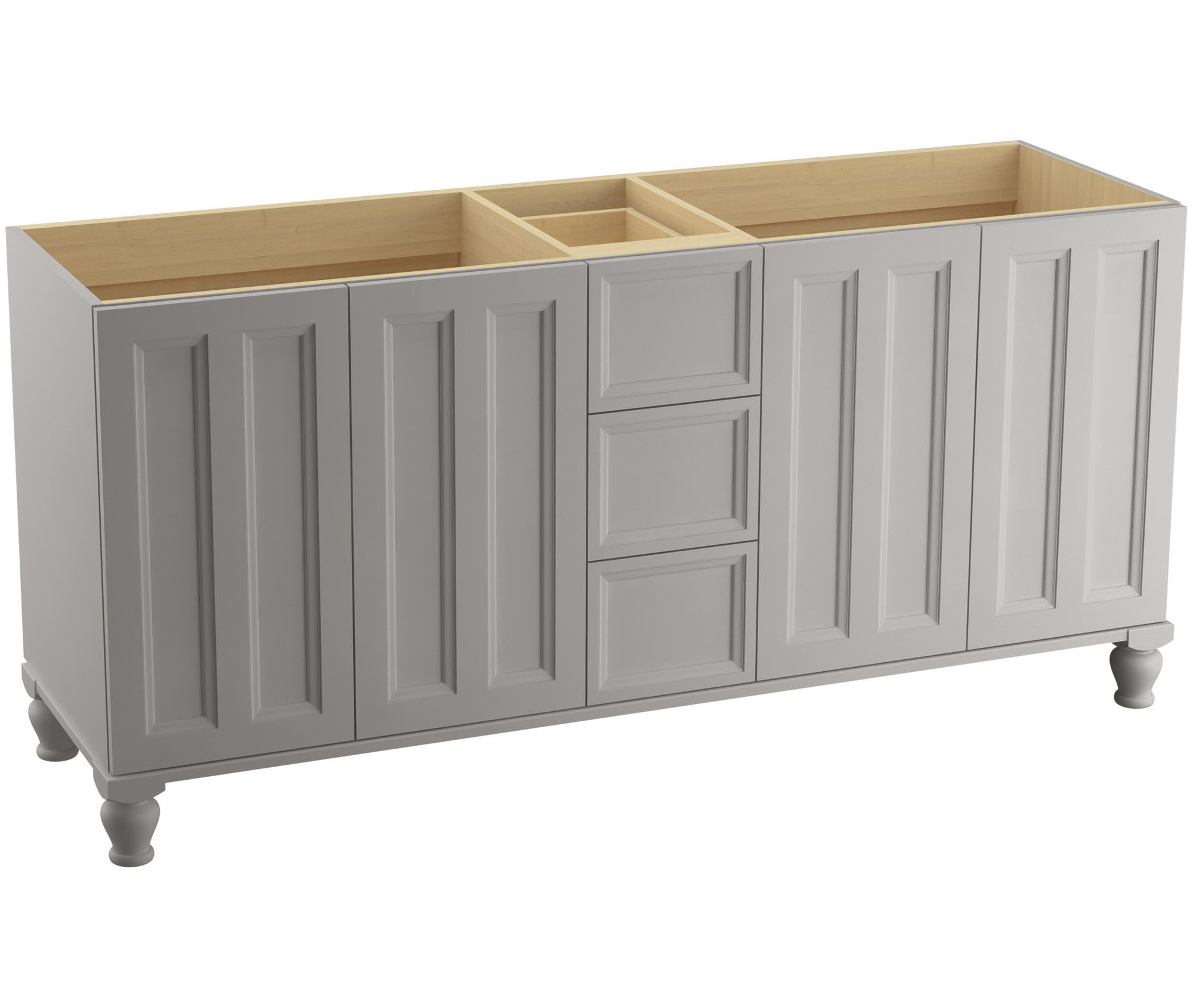 Kohler Damask Vanity Cabinet Only With Split Top Drawers   Free Mohair Grey  Fixture Vanity Double