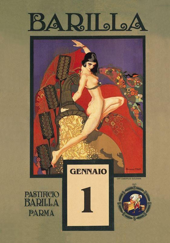 Emma Bonazzi, Semele's Gold, calendar illustration for Barilla, 1923. Italy. Via liberty.it