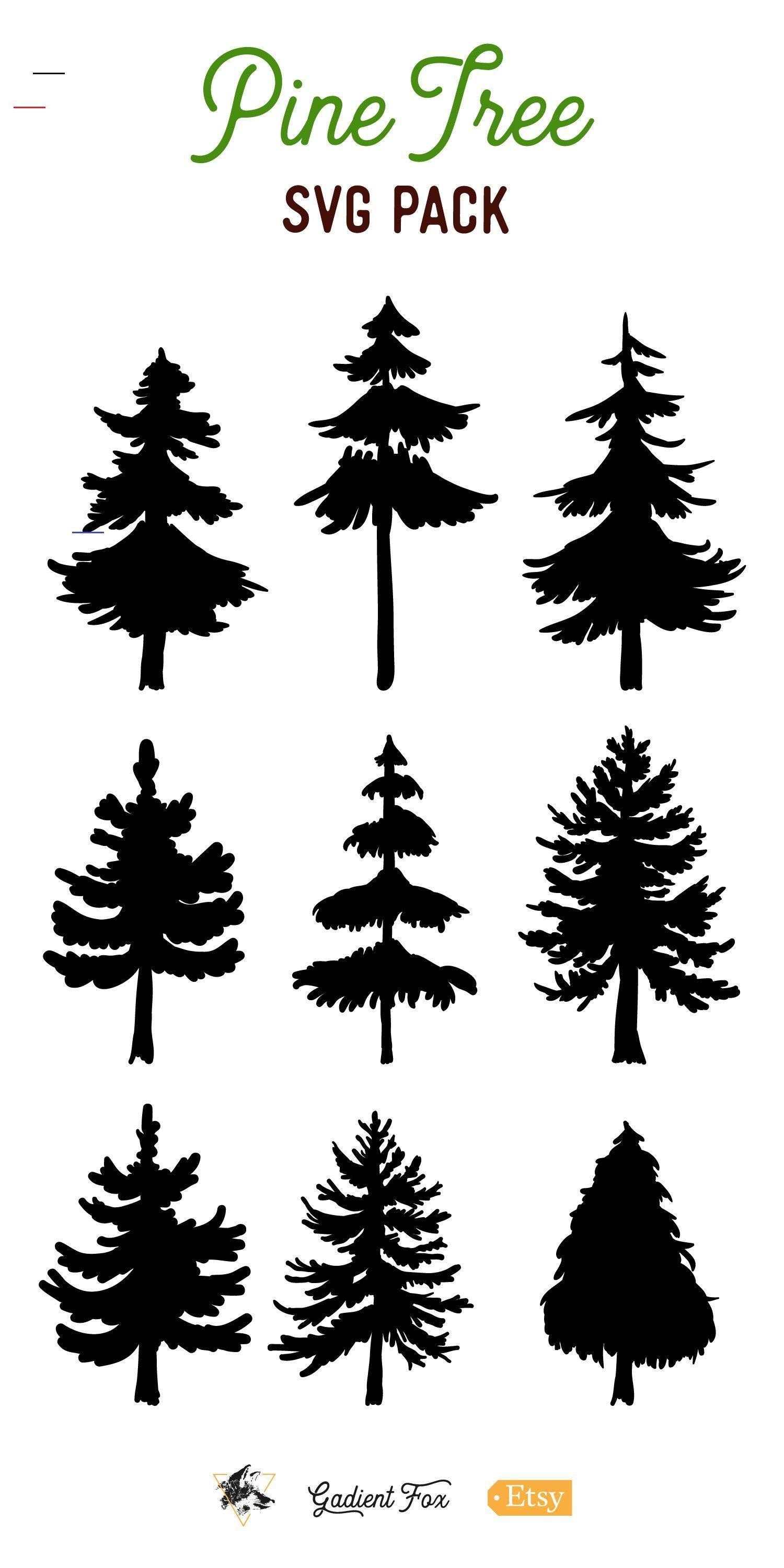 9 Vector Pine Tree Silhouette Illustrations (155339