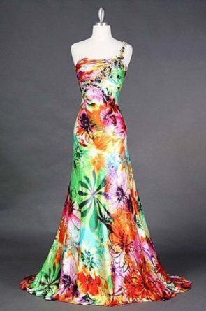 #4044 Satin Print One Shoulder Homecoming Pageant Prom Dress $149