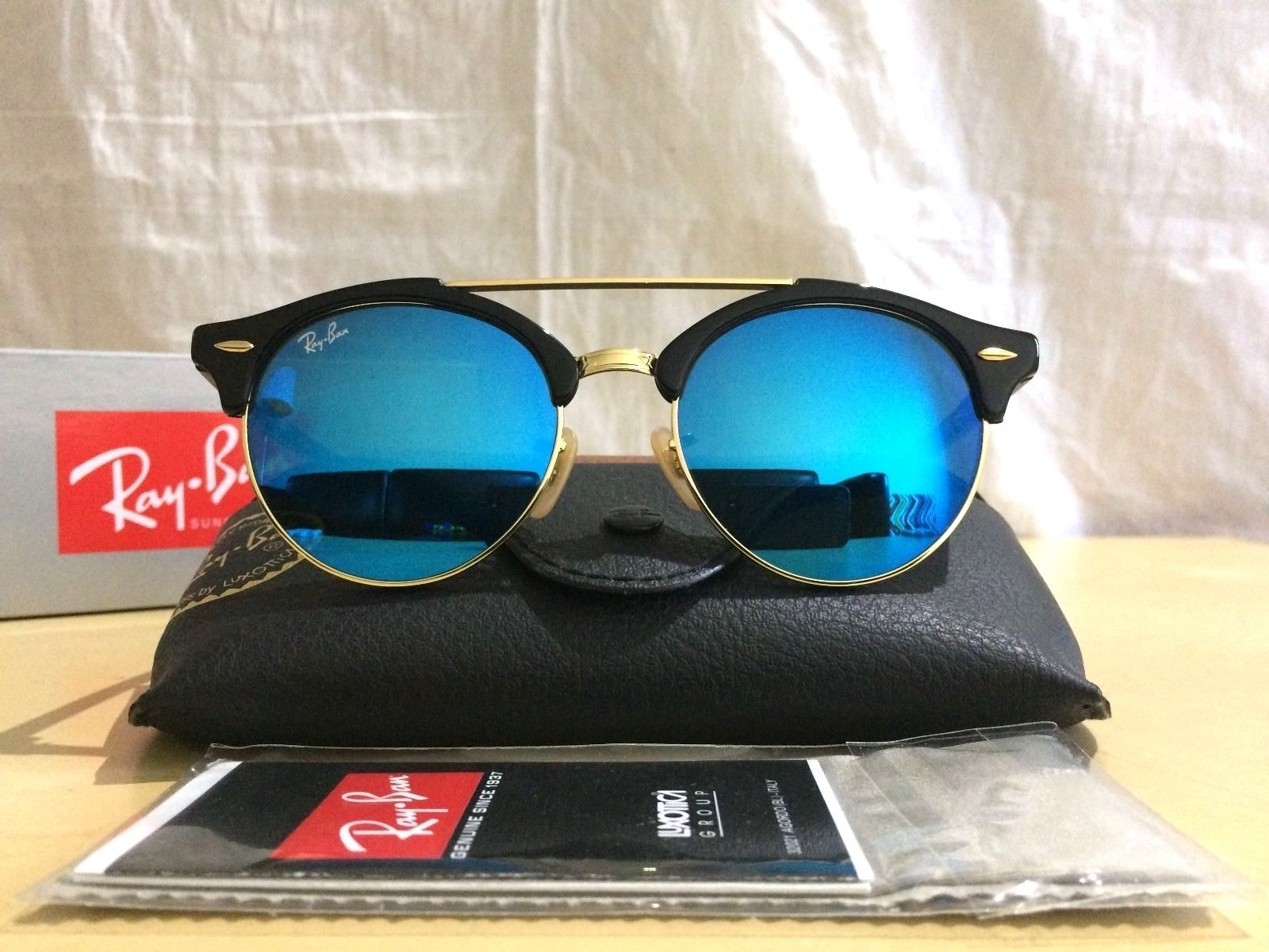 de1fabfd2fc Ray Ban CLUBROUND DOUBLE BRIDGE RB4346 51mm Black   Gold Frame Blue Flash  Lens