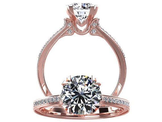 Victorian Inspired 14k Rose Gold Diamond Ring Engagement Ring 1 25