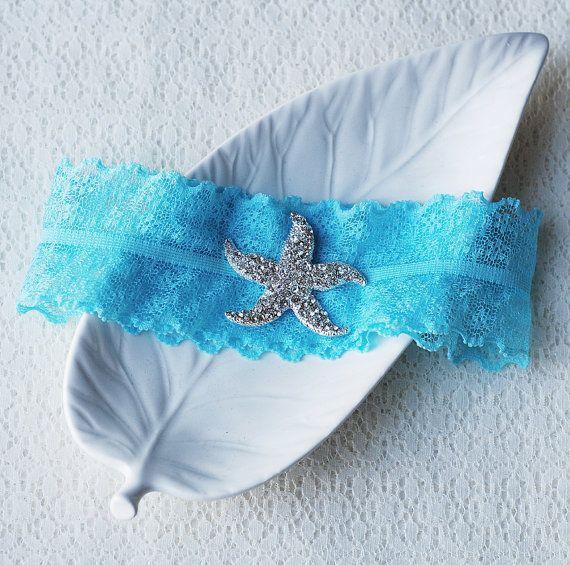 Something Blue Garter Rhinestone Crystal Starfish Ribbon Lace Turquoise Aqua Beach Wedding Gr076lx On