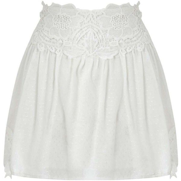 Miss Selfridge PETITE Lace Skater Skirt (12 AUD) ❤ liked on Polyvore featuring skirts, ivory, petite, lace circle skirt, miss selfridge, skater skirt, circle skirt and ivory skirt