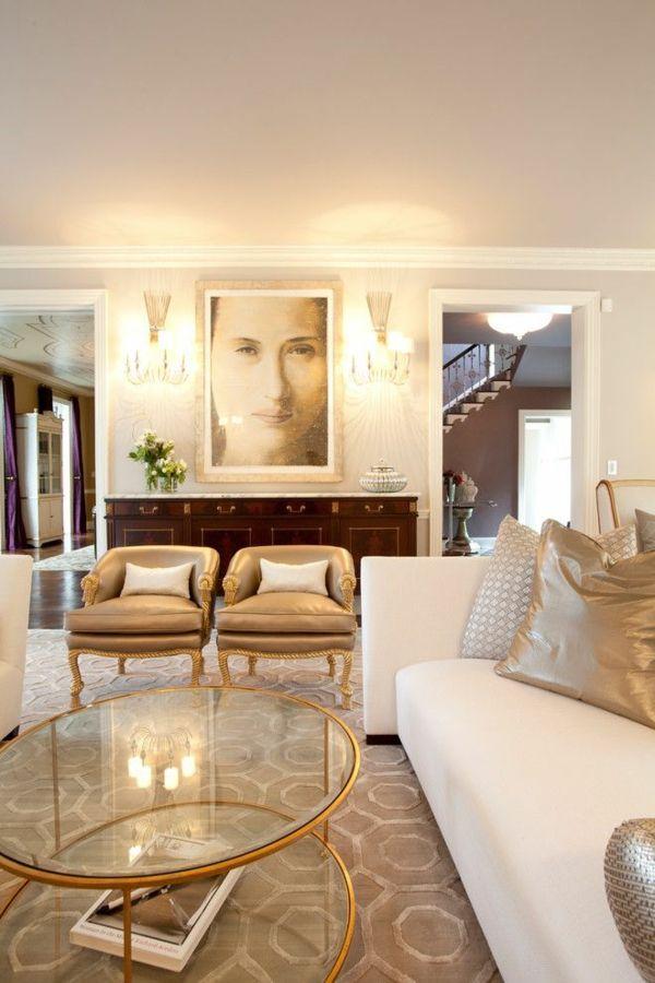 interior entscheidungen für wohnzimmer goldene akzente bild an der - einrichten in neutralen farben ideen
