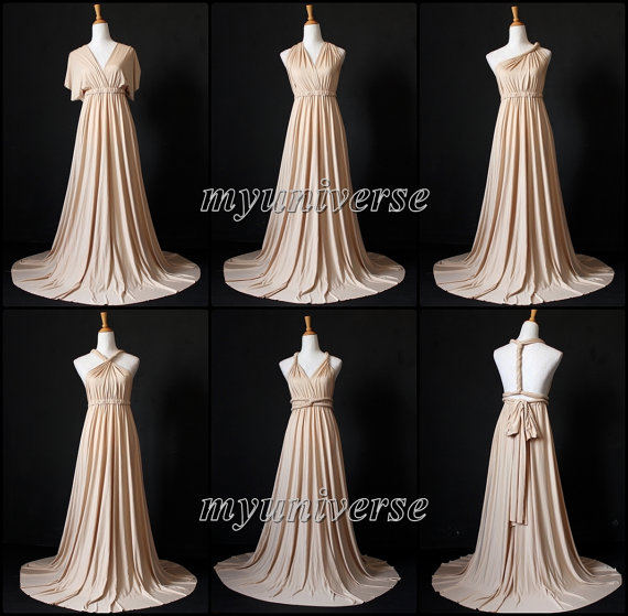 Champagne Bridesmaid Dress Wrap Convertible Dress Infinity Etsy Champagne Bridesmaid Dresses Evening Gowns Formal Evening Dresses Plus Size