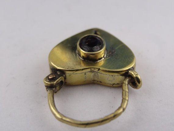 lovely antique heart padlock,set with bohemian garnet