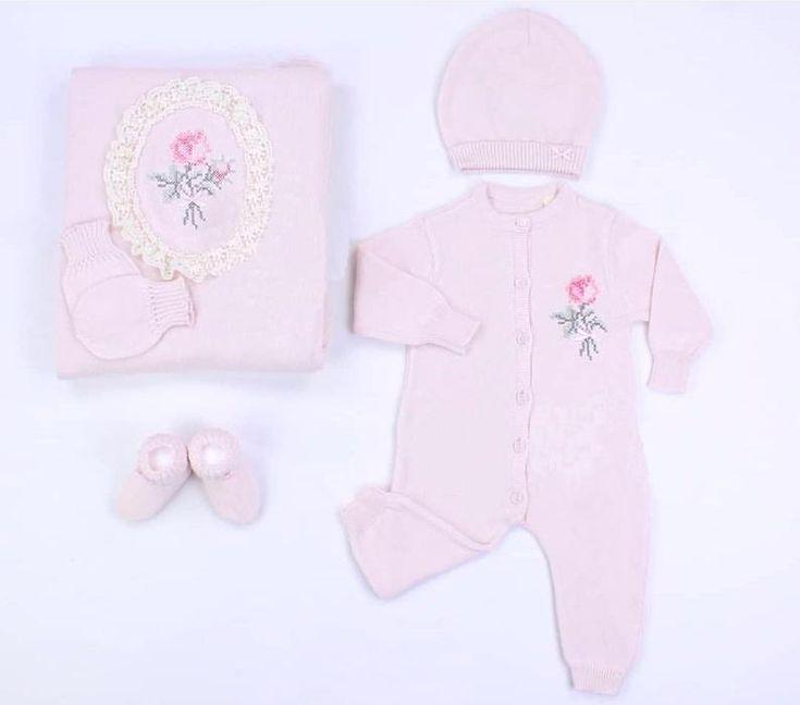 Photo of Crochet Baby Blanket Set, Organic Pink Blanket, Newborn Baby Girl Romper, Baby Girl Pink Outf…