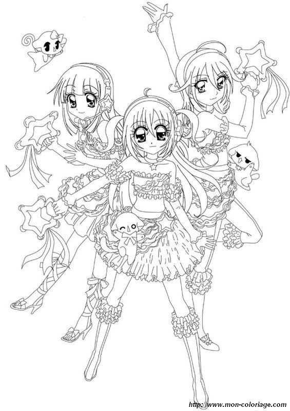 Coloring Manga Page Kilari With Her Friends Coloriage Manga Coloriage Manga