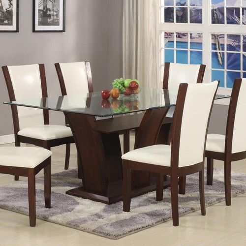Camelia White Rectangular Dining Table With Glass Topcrown Delectable Rectangle Dining Room Tables Inspiration