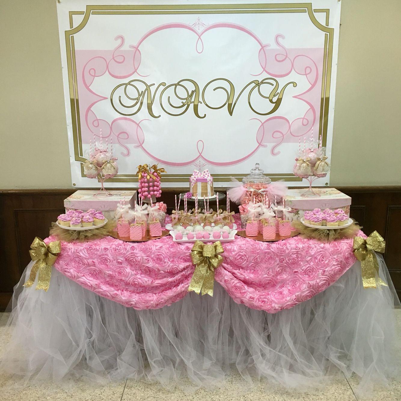 Pink U0026 Gold Glitter U0026 Pearls Baby Shower