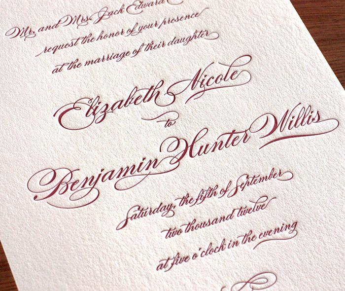 formal invitation fonts Letterpress wedding invitations