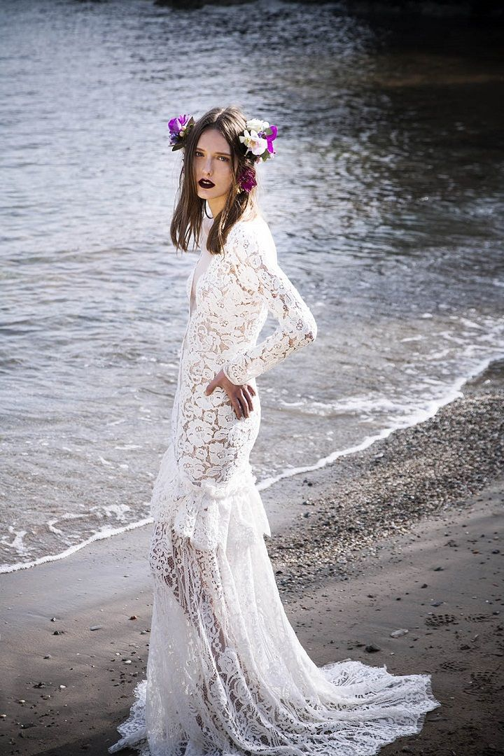 Long sleeve guipure lace illusion bodice maxi dress nude lining | itakeyou.co.uk #weddingdress #weddinggown #bridalgown #beachweddingdress