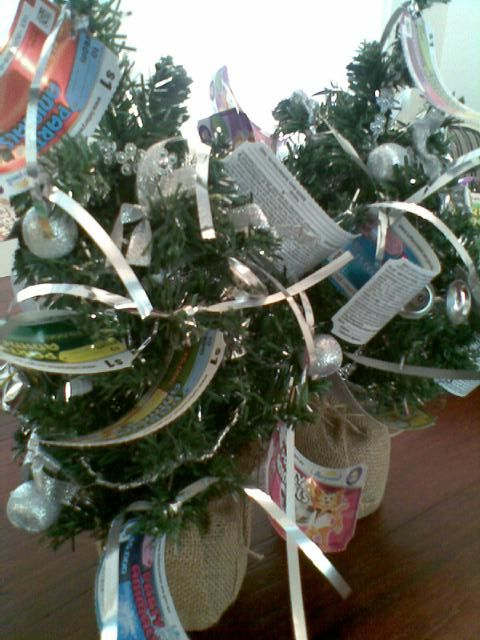 Deck out a wreath or small Christmas tree with Lottery tickets for