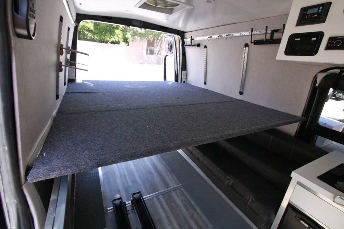bf979a42e5 Sprinter Van DIY 3 Panel Platform Bed on L Track