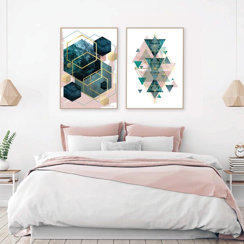 Set Of 2 Printable Blush Pink Teal Gold Geometric Prints Digital