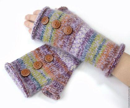 guantes sin dedos, guantes mitones de punto de mohair de rayas multicolores sin dedos mitenui un actual regalo para la muchacha cal lila marrón