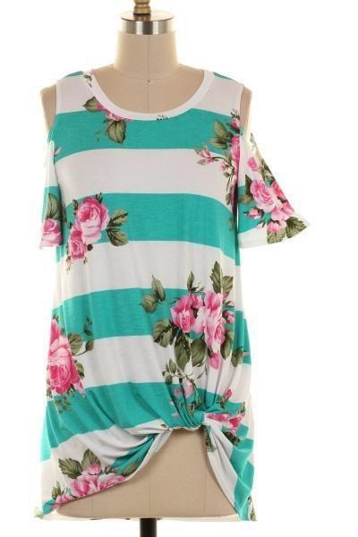 (pre-order) Aqua Striped Floral Cool Shoulder Top