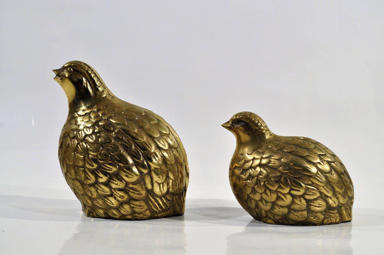 2 vintage  Brass quail figures