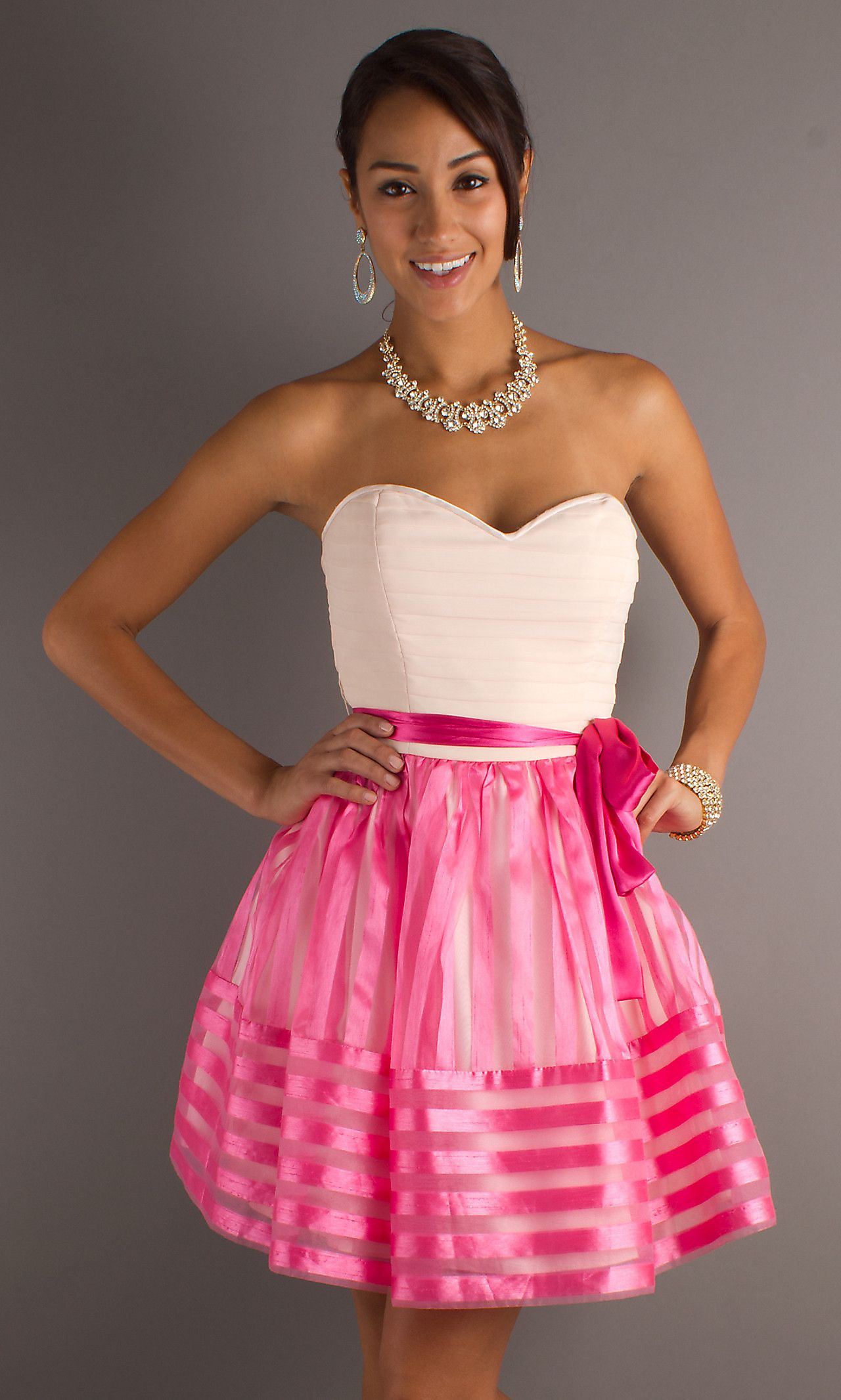 Strapless pink homecoming dress mo my style pinterest