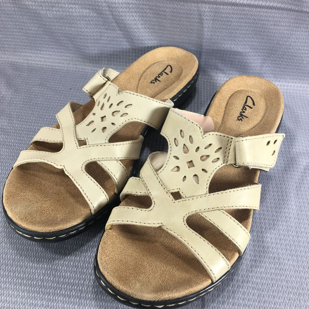 Clarks Leisa Plum Strappy Slip On Leather Sandal Slide Beige Nude Size 8 M