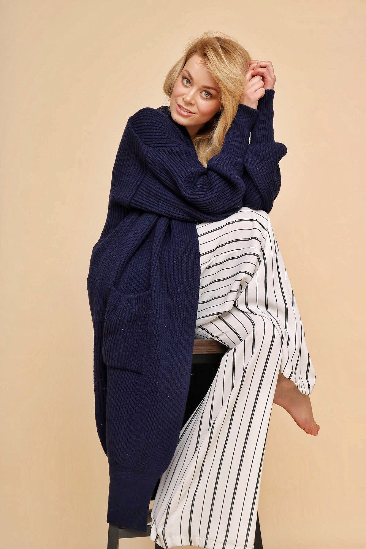 Wool maxi knit cardigan, long oversized white jacket ...